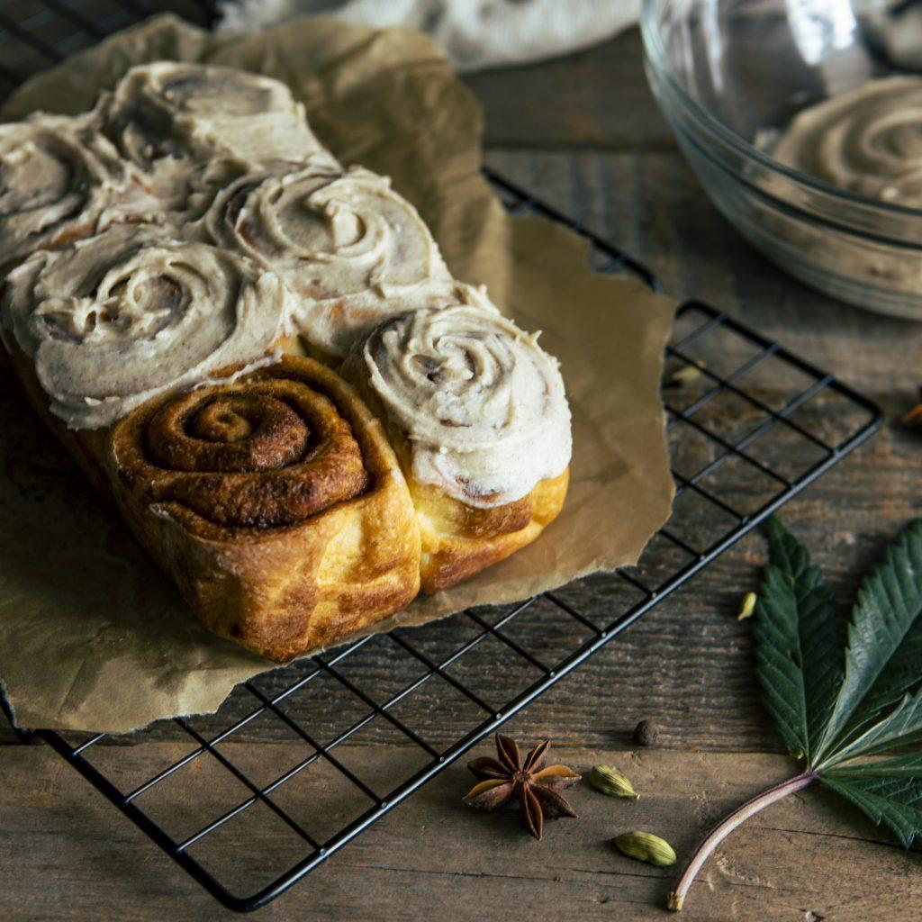 Cannabis edibles frosting cinnamon buns